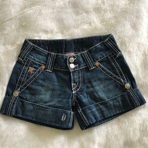 True Religion Sammy Short Big T Denim Shorts flaw